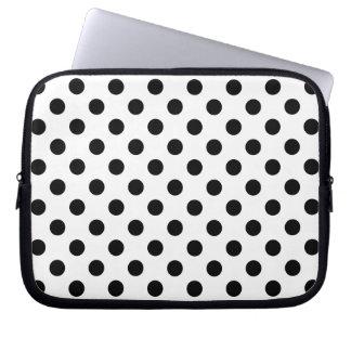 BLACK DOTS! (a polka dot design) ~ Laptop Sleeves