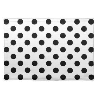 BLACK DOTS! (a polka dot design) ~ Cloth Place Mat