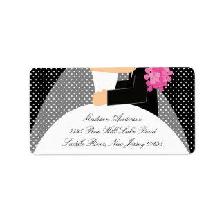 Black Dots Bride & Groom Return Address Label