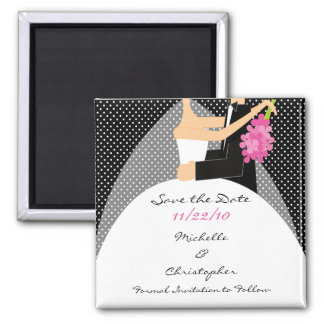 Black Dots Bride & Groom Save The Date Magnet