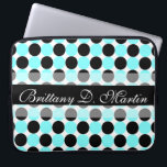 "Black Dots Laptop Sleeve (15 - 17 inch)<br><div class=""desc"">Are you searching for a cute and personalized laptop sleeve for girls? This trendy blue and black polka dot laptop sleeve is a chic personalized 17 inch laptop sleeve that would make a cool birthday gift, graduation gift or Christmas gift for girly girls that wants a patterned designer laptop sleeve....</div>"
