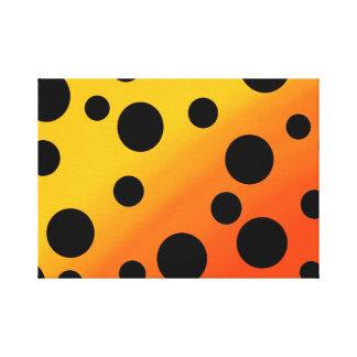 Black Dots On Blended OrangeToYellow Canvas Print