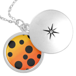 Black Dots On Blended OrangeToYellow Silver Plated Necklace
