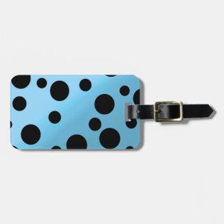 Black Dots On Blended SkyBlue Travel Bag Tag