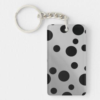 Black Dots On Blending Double-Sided Rectangular Acrylic Keychain