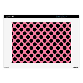 "Black Dots on Pink Background 15"" Laptop Decal"