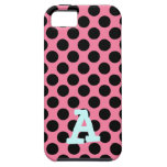 Black Dots on Pink Background iPhone 5 Covers