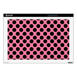 Black Dots on Pink Background Laptop Decal