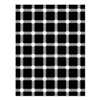 Black Dots Optical Illusion White Dot Squares Grid Postcard