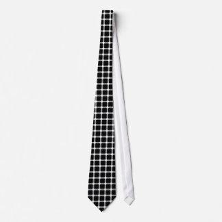 Black Dots Optical Illusion White Line Square Grid Neck Tie