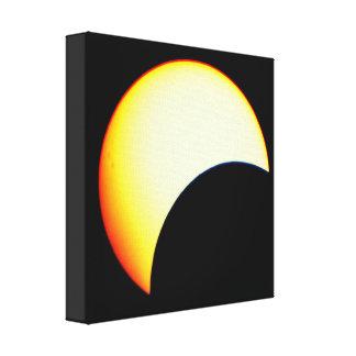 Black Dots Over The Sun | Partial Eclipse Canvas Print