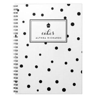 Black Dots Pattern Baking Recipe Notebook