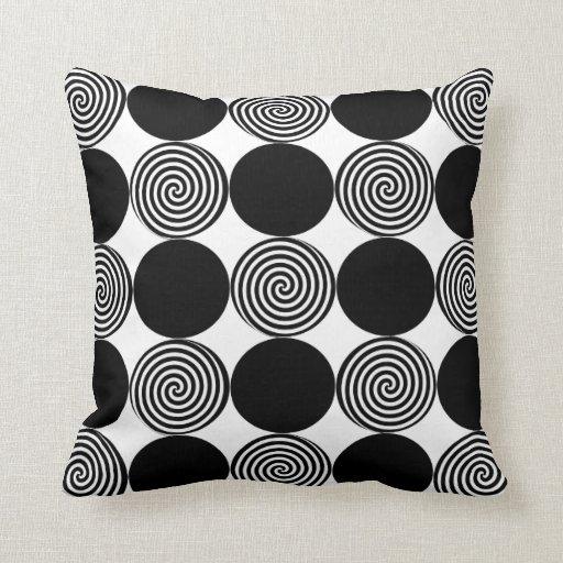 Black Dots & Swirls on White Throw Pillows