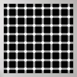 Black Dots White Line Grid Square Optical Illusion Poster