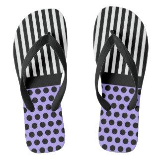Black Dots & white Stripes + your back & idea Flip Flops