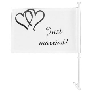 Black Double Heart Just Married Car Flag