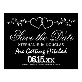 Black Double Hearts Save the Date Postcards