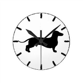 Black Doxie Round Clock