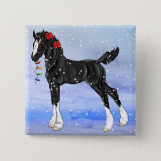 Black Draft Horse Foal Christmas Pinback Button