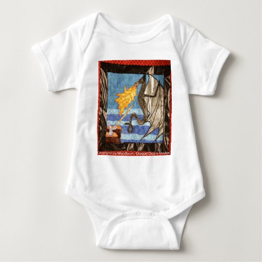 """""""Black Dragon and Mage""""  Quilted Dragons series Baby Bodysuit"""