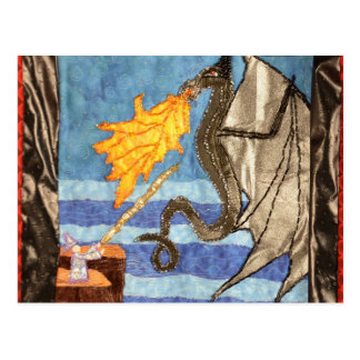 """""""Black Dragon and Mage""""  Quilted Dragons series Postcard"""