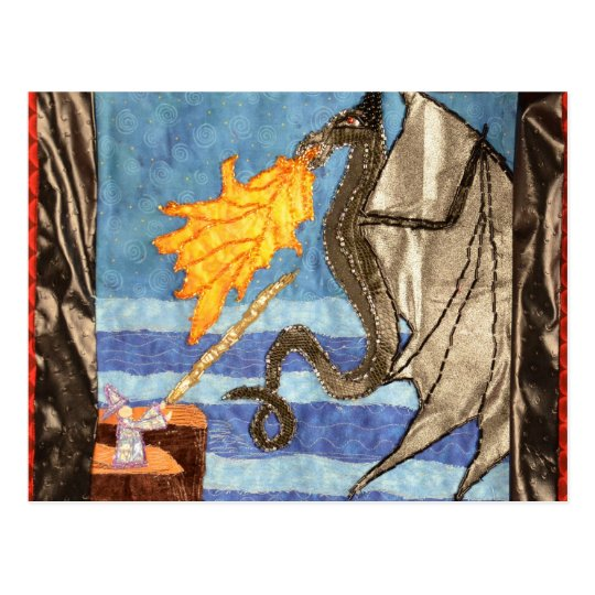 """Black Dragon and Mage""  Quilted Dragons series Postcard"
