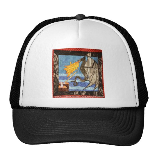 """""""Black Dragon and Mage""""  Quilted Dragons series Trucker Hat"""