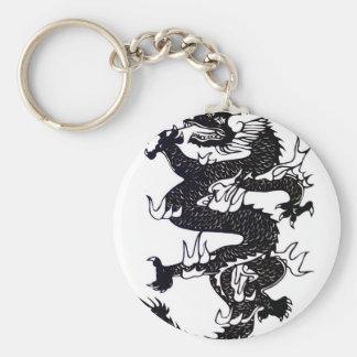 Black Dragon Basic Round Button Keychain