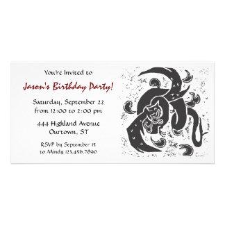 Black Dragon Birthday Party Invite Customized Photo Card