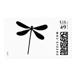 black dragon fly icon postage stamp