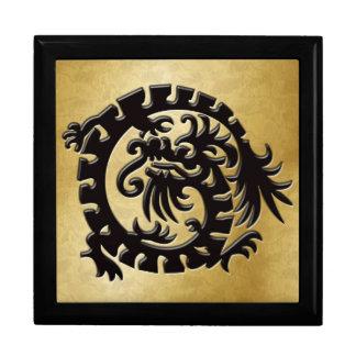 Black Dragon Icon on Gold - 1 Keepsake Box