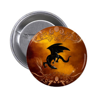Black dragon in the sky pinback buttons