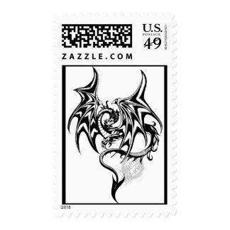 Black-dragon Inked Postage Stamps