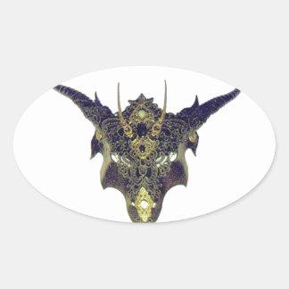 Black Dragon Mask by Cantillon -Sharles Oval Sticker