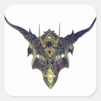 Black Dragon Mask by Cantillon -Sharles Square Sticker