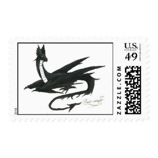 Black dragon painting postage stamp