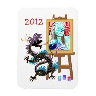 Black Dragon paints your portrait on Premium Magne Rectangular Photo Magnet