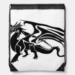 Black Dragon Silhouette Cinch Bag
