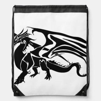 Black Dragon Silhouette Drawstring Bag