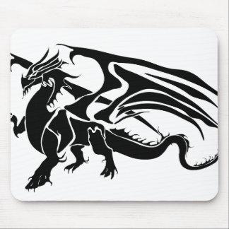 Black Dragon Silhouette Mouse Pad