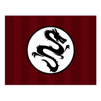 Black Dragon Silhouette on Red Stripes Postcards