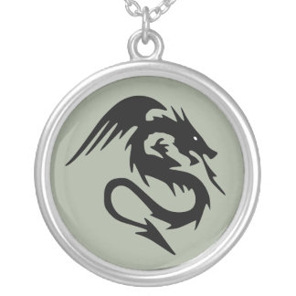 Black dragon silver plated necklace