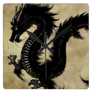 Black Dragon Square Wall Clock