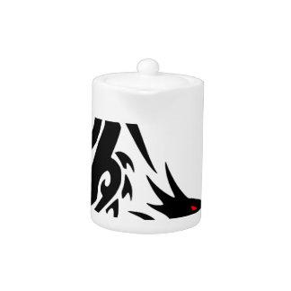 Black Dragon Tattoo Design Teapot