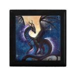 Black Dragon with Night Sky by Carla Morrow Trinket Boxes