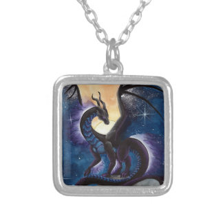 Black Dragon with Night Sky by Carla Morrow Square Pendant Necklace