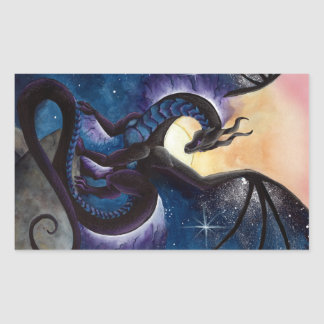 Black Dragon with Night Sky by Carla Morrow Stickers