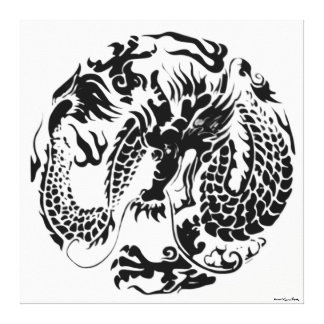 Black Dragon Wrapped Canvas