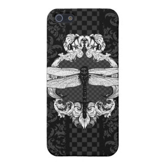 Black Dragonfly Damask iPhone 4 Case