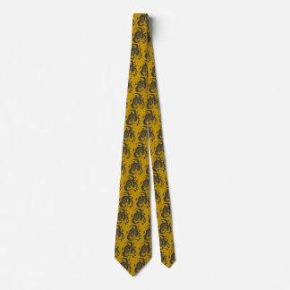 Black Dragons Buddha Gold Tie